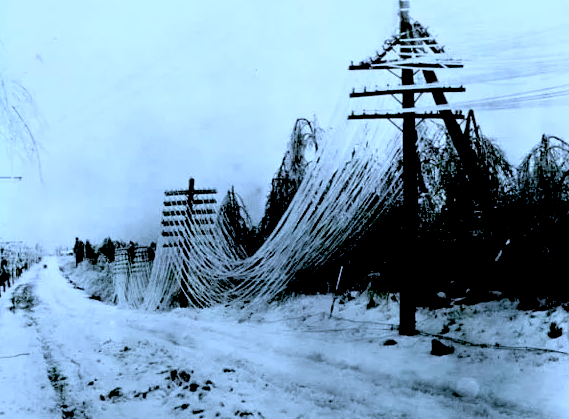 POWER LINES DRAGGED TO THE GROUND BY ICE STORM