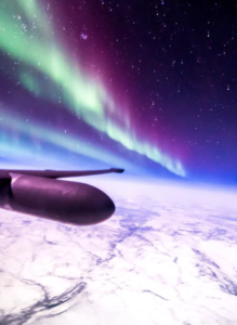 Franquemont recently had the privilege of photographing the Aurora Borealis from his cockpit at 70,000 feet.