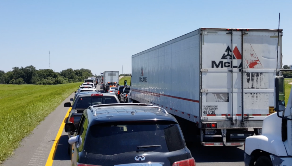 Traffic on the road to Houston to get gear delivered